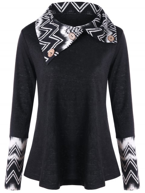 Turndown Collar Chevron Panel Long Sleeve Top - BLACK M
