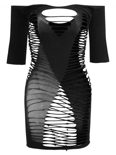 Lingerie Off Shoulder Strappy Bodycon Dress - BLACK ONE SIZE