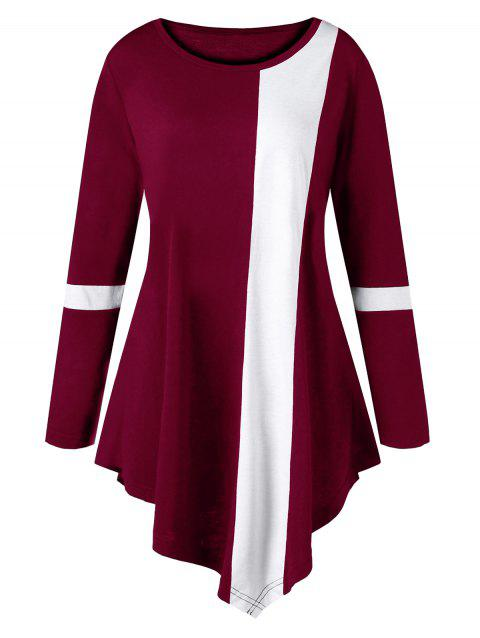Plus Size Two Tone Color Asymmetric Top - WINE RED 3XL
