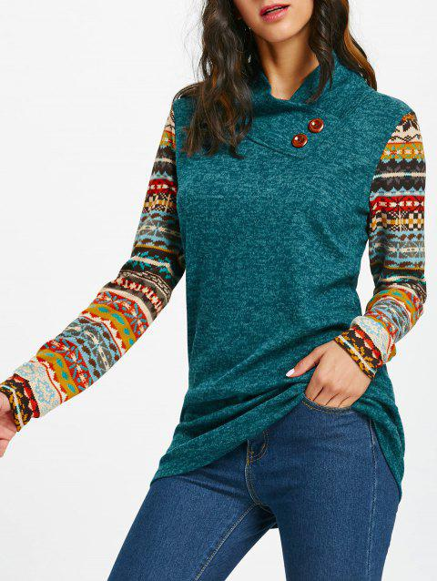 Tribal Print Long Sleeve Heap Collar Top - BLACKISH GREEN S