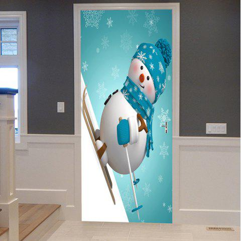 Christmas Skiing Snowman Pattern Door Stickers - COLORMIX 38.5*200CM*2PCS