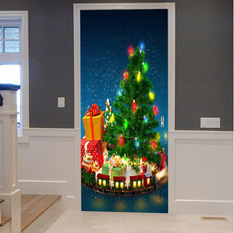Christmas Tree with Gifts Pattern Door Stickers - GREEN 38.5*200CM*2PCS
