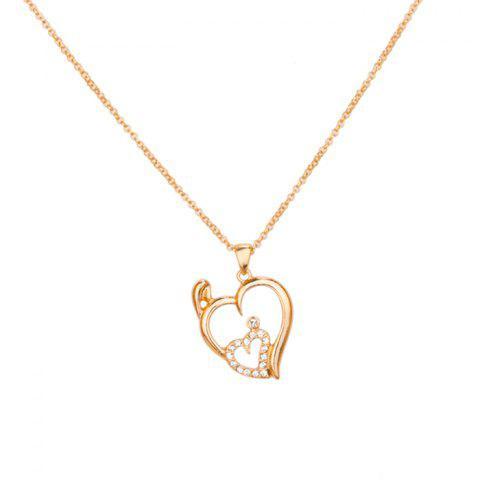 False Crystal Heart Shape Pendant Necklace - GOLDEN