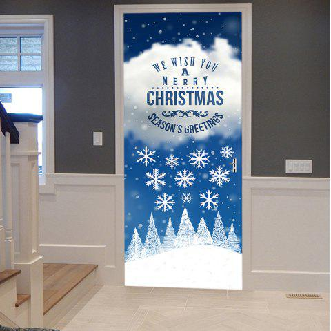 Christmas Greetings Snowflakes Pattern Door Stickers - COLORMIX 38.5*200CM*2PCS