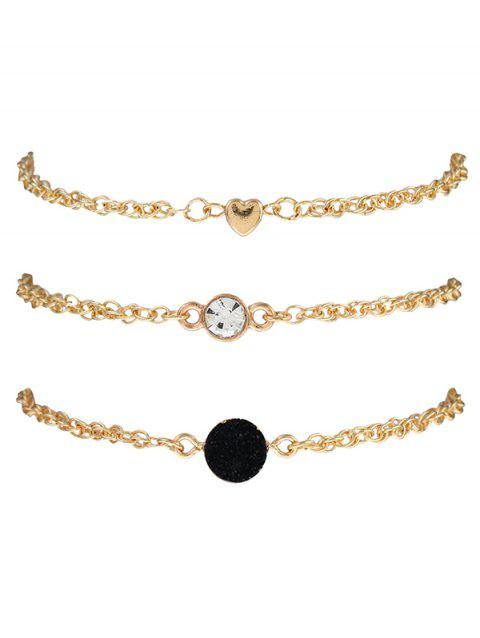 Rhinestone Natural Stone Heart Bracelet Set - BLACK