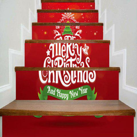Merry Christmas Tree Patterned escalier autocollants - Rouge 100*18CM*6PCS