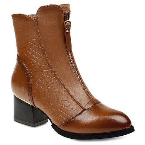 Chunky Heel Embossed Front Zip Ankle Boots - BROWN 40