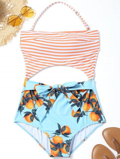 6976c6116d 41% OFF] 2019 Cut Out Striped Orange Print Swimwear In LIGHT BLUE ...