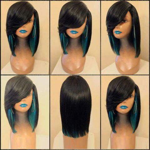 Medium Side Parting Colormix Straight Feathered Synthetic Wig - BLACK/GREEN