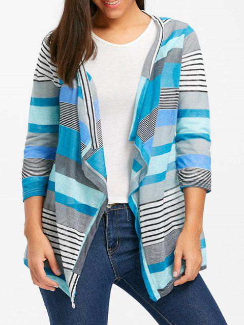Open Front Color Block Striped Cardigan - BLUE M