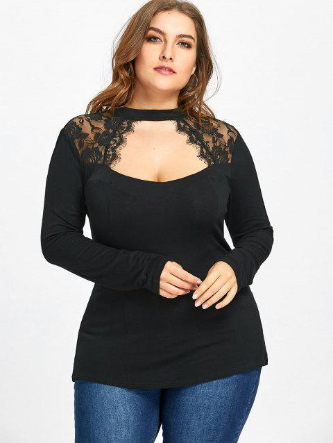 b7d4b6f5ac1 52% OFF  2019 Plus Size Lace Panel Keyhole Top In BLACK