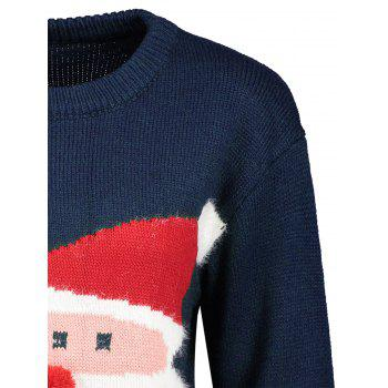 Santa Claus Print Crew Neck Christmas Sweater - BLUE BLUE