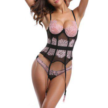 See Through Lingerie Lace Corset with Garter - PINK XL