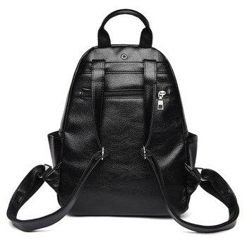Side Pockets PU Leather Backpack With Handle - BLACK