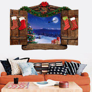 Christmas Wood Window Scenery Pattern Removable Wall Sticker - COLORMIX COLORMIX