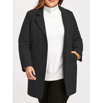 Plus Size Long  Wool Blend Lapel Coat - BLACK BLACK