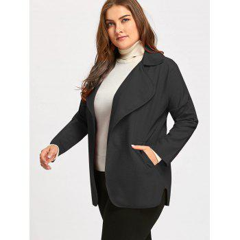 Roll Up Sleeve Plus Size  Turndown Collar Trench Coat - BLACK BLACK