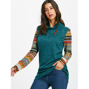 Tribal Print Long Sleeve Heap Collar Top - BLACKISH GREEN BLACKISH GREEN