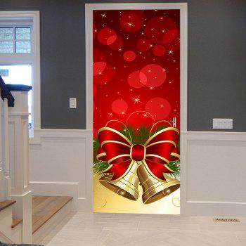Christmas Bowknot Bells Pattern Door Stickers - RED RED