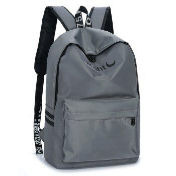 Color Block Letter Print Striped Backpack - GRAY