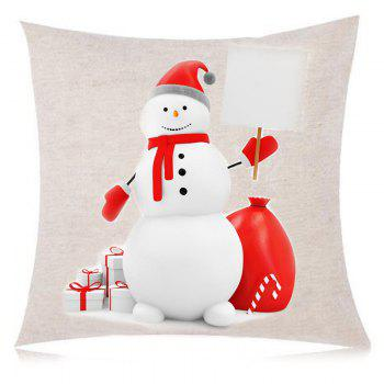 Christmas Snowman Print Decorative Linen Pillow Case - COLORFUL W18 INCH * L18 INCH