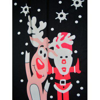 Christmas Polka Dot Elk Santa Claus Print Dress - BLACK S