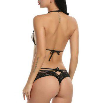 Caged Bra and Lace G-string Panties Set - BLACK BLACK