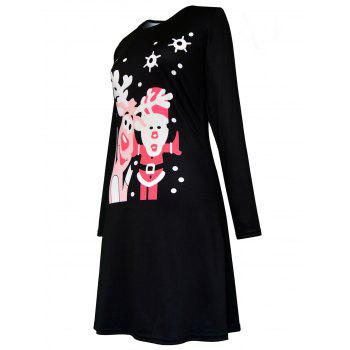 Christmas Polka Dot Elk Santa Claus Print Dress - BLACK L