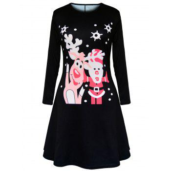 Christmas Polka Dot Elk Santa Claus Print Dress - BLACK BLACK