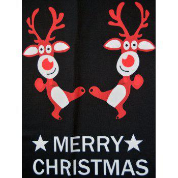 Merry Christmas Elk Printed Swing Dress - BLACK BLACK