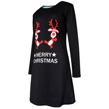 Merry Christmas Elk Printed Swing Dress - BLACK 2XL