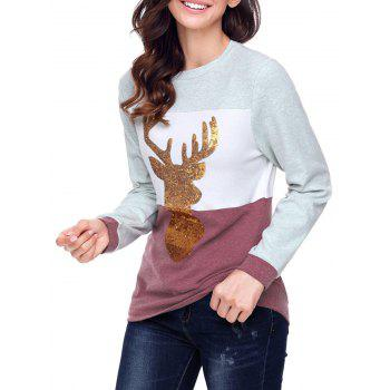 Christmas Sequined Deer Color Block Top - CLARET S