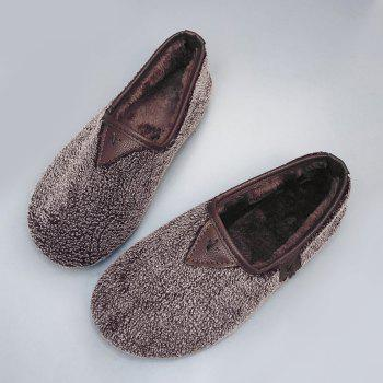 Round Toe Slip On Faux Fur Flat Shoes - COFFEE 39