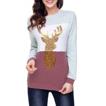 Christmas Sequined Deer Color Block Top - CLARET M