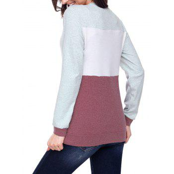Christmas Sequined Deer Color Block Top - CLARET L