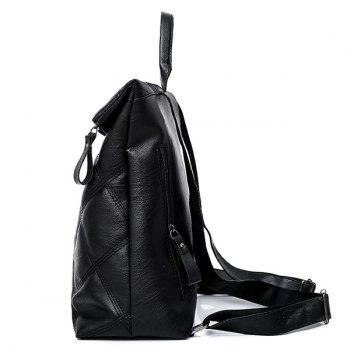 Faux Leather Quilted Backpack - BLACK