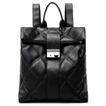 Faux Leather Quilted Backpack - BLACK BLACK