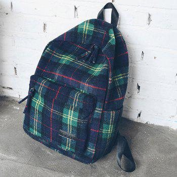 Double Strap Plaid Backpack - GREEN