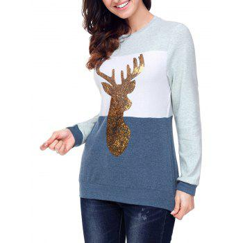 Christmas Sequined Deer Color Block Top - BLUE S