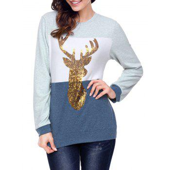 Christmas Sequined Deer Color Block Top - BLUE BLUE