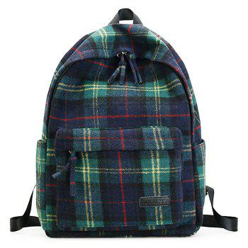 Double Strap Plaid Backpack - GREEN GREEN
