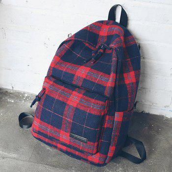 Double Strap Plaid Backpack - RED