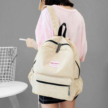 Multi Function Letter Print Backpack With Handle -  BEIGE
