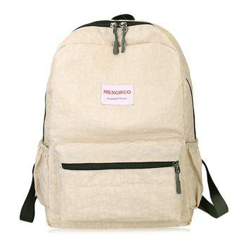 Multi Function Letter Print Backpack With Handle - BEIGE BEIGE