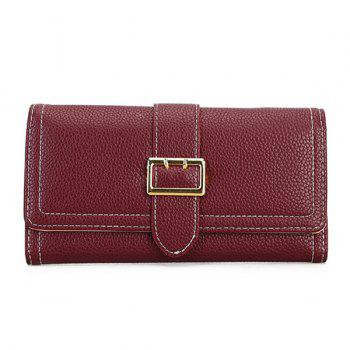 Stitching PU Leather Buckle Strap Wallet - WINE RED WINE RED