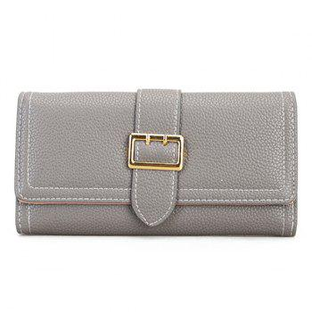 Stitching PU Leather Buckle Strap Wallet - GRAY GRAY