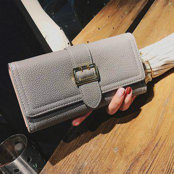 Stitching PU Leather Buckle Strap Wallet -  GRAY