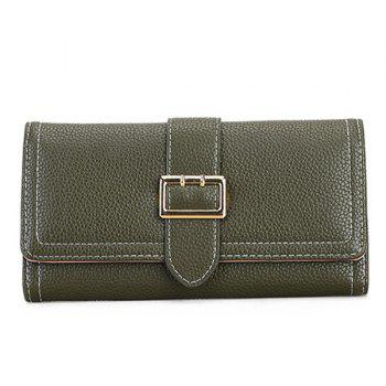 Stitching PU Leather Buckle Strap Wallet - BLACKISH GREEN BLACKISH GREEN