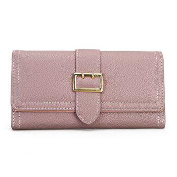 Stitching PU Leather Buckle Strap Wallet - PINK PINK