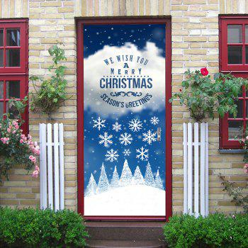 Christmas Greetings Snowflakes Pattern Door Stickers - COLORMIX COLORMIX
